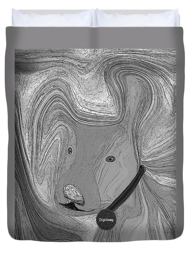 Ruth Palmer Abstract Black And White Digital Dog Dogs Animals Humor Funny Duvet Cover featuring the digital art Digidawg by Ruth Palmer