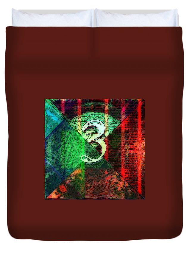 Digit Duvet Cover featuring the digital art Digit 3 by Marko Sabotin