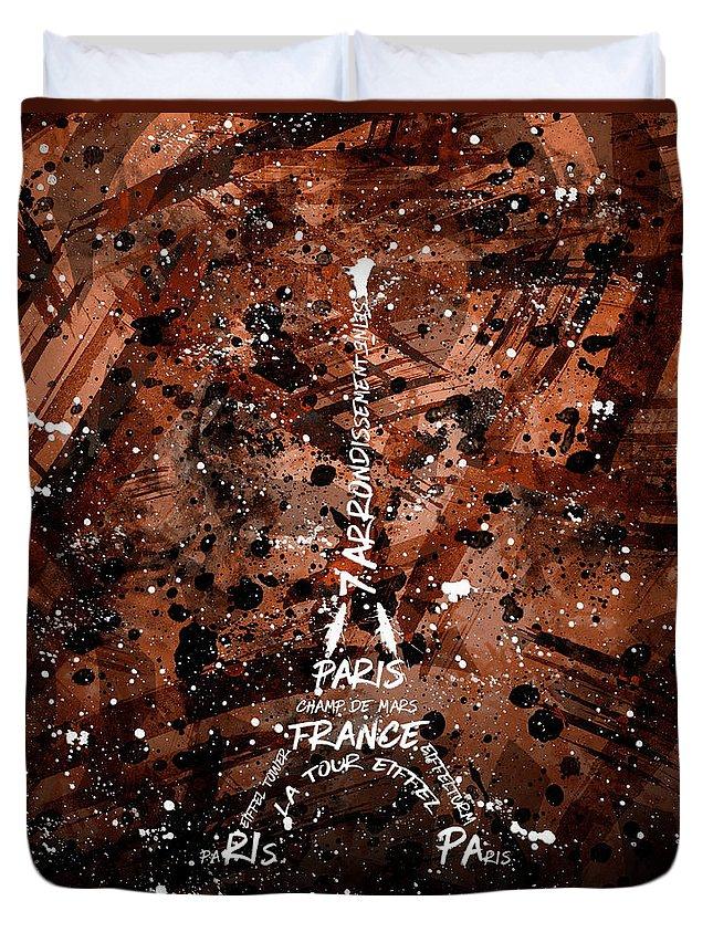 Paris Duvet Cover featuring the digital art Digital Art Eiffel Tower - Brown by Melanie Viola