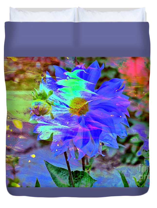Abstract Duvet Cover featuring the photograph Digital Brush Abstract by Jeff Swan