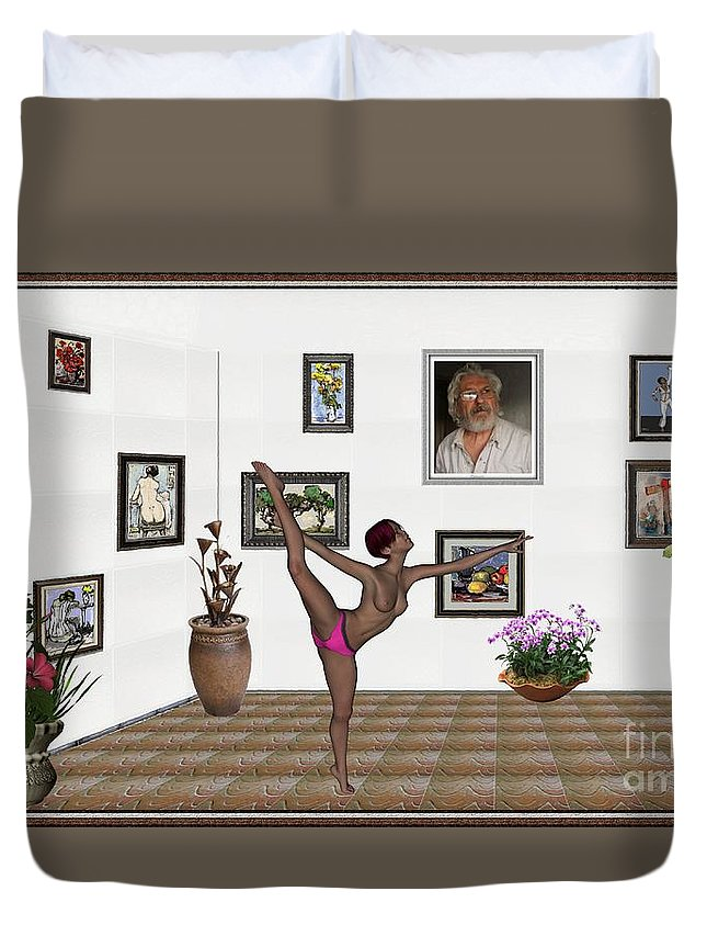 Modern Painting Duvet Cover featuring the mixed media Digital Exhibition _ Girl Acrobat 34 by Pemaro
