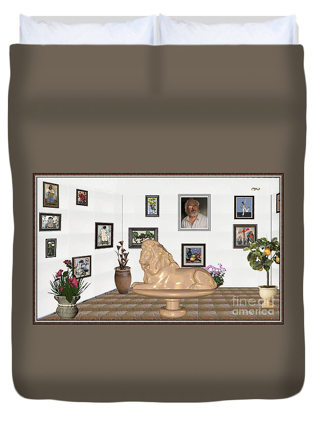People Duvet Cover featuring the mixed media Digital Exhibition _ Sculpture Of A Lion by Pemaro