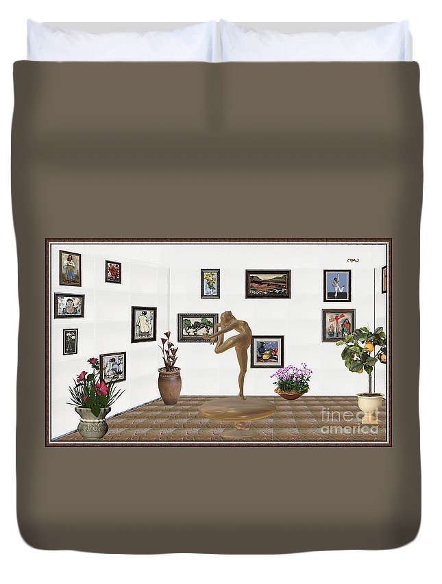People Duvet Cover featuring the mixed media digital exhibition _ Statue of girl 42 by Pemaro