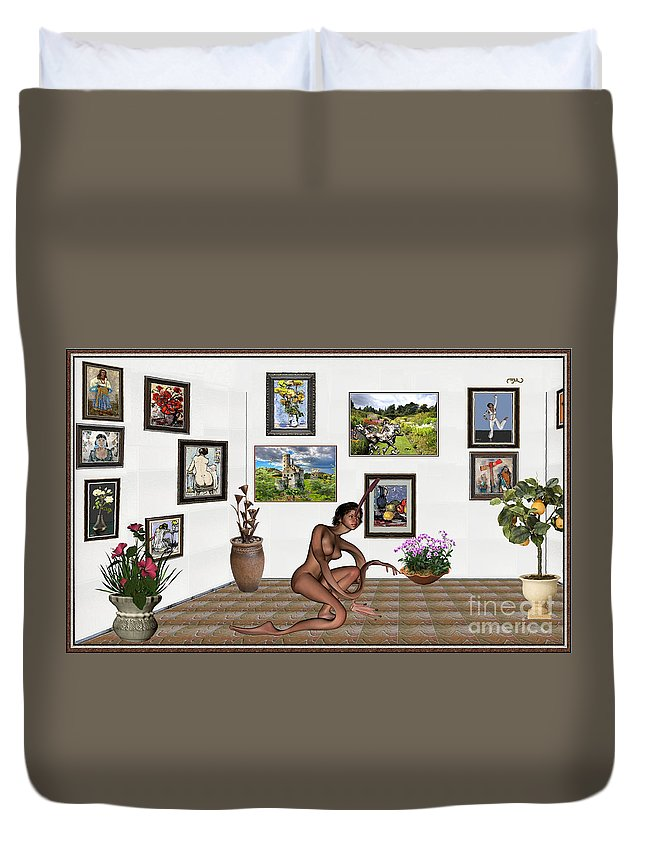 Modern Painting Duvet Cover featuring the mixed media digital exhibition _beautiful Girl - Zombie by Pemaro