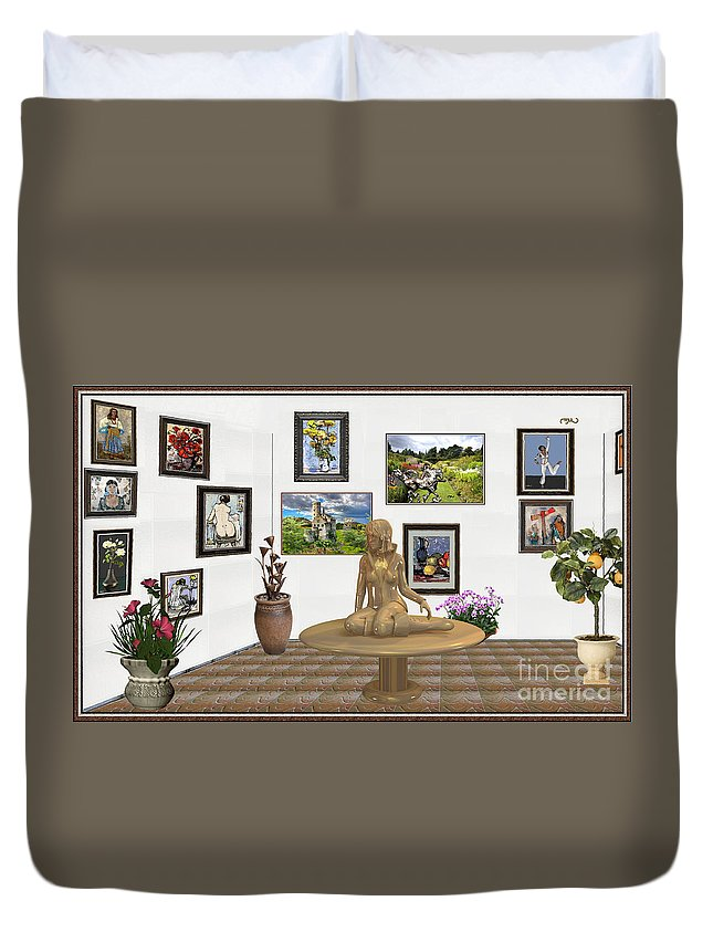 Modern Painting Duvet Cover featuring the mixed media digital exhibition _Statue 2 of posing girl 221 by Pemaro
