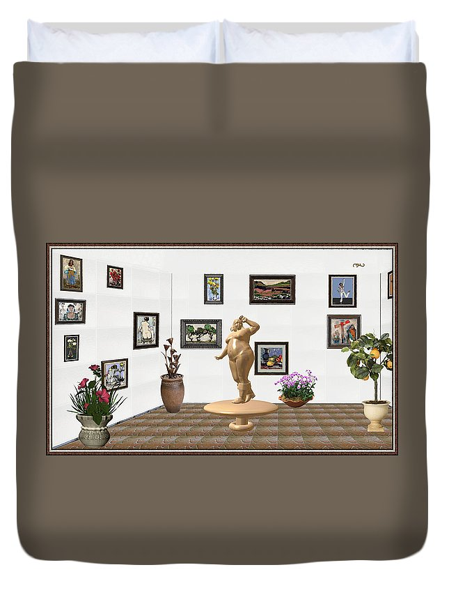 Modern Painting Duvet Cover featuring the mixed media digital exhibition Statue 23 of posing lady by Pemaro