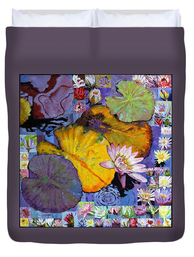 Water Lilies Duvet Cover featuring the painting Digital Lilies by John Lautermilch