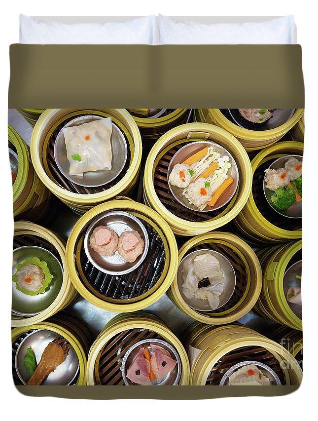 Appetizer Duvet Cover featuring the photograph Dim Sum by Atiketta Sangasaeng