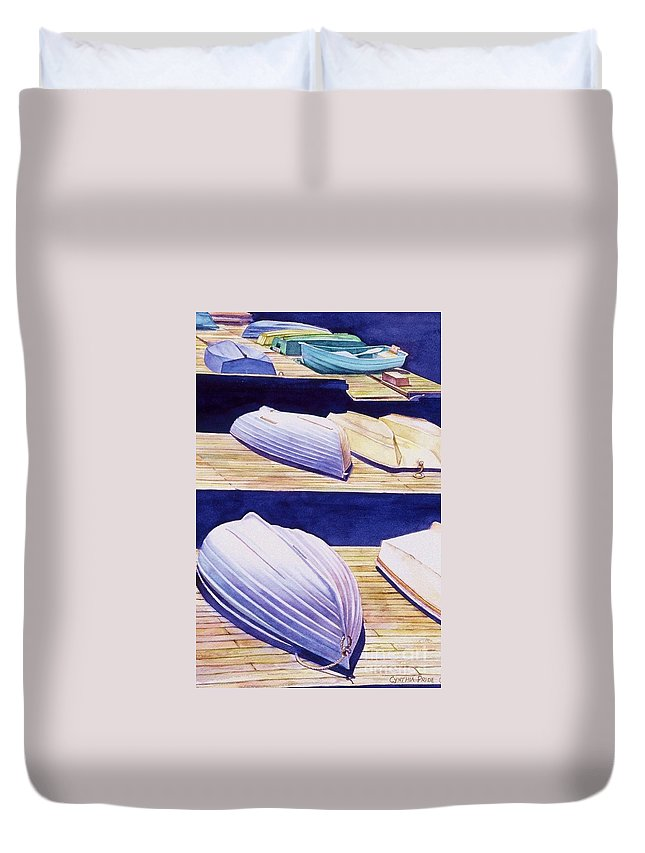 Cynthia Pride Watercolor Paintings Duvet Cover featuring the painting Dinghy Lines by Cynthia Pride