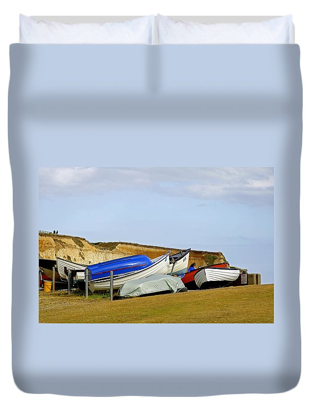 Isle Of Wight Duvet Cover featuring the photograph Dinghy Park At Freshwater Bay by Rod Johnson