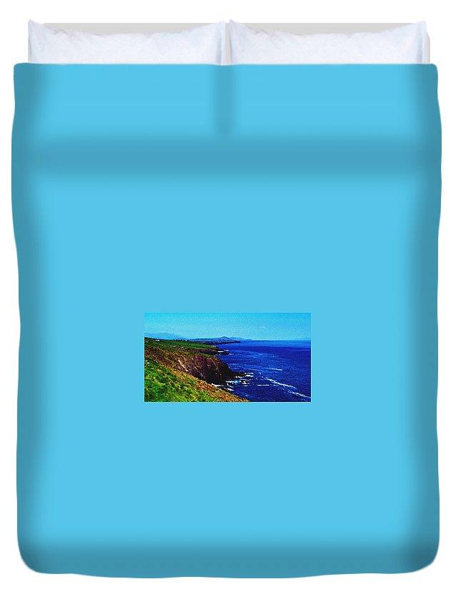 Irish Duvet Cover featuring the digital art Dingle Coastline Near Fahan Ireland by Teresa Mucha