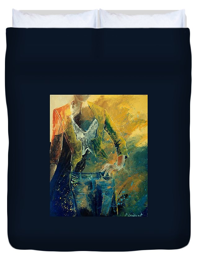 Woman Girl Fashion Duvet Cover featuring the painting Dinner Jacket by Pol Ledent