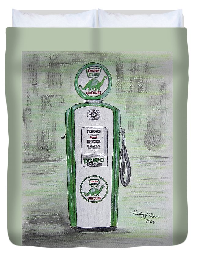 Dino Duvet Cover featuring the painting Dino Sinclair Gas Pump by Kathy Marrs Chandler