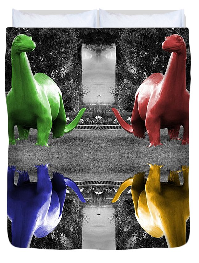 Dinos Selective Coloring Photography on Duvet