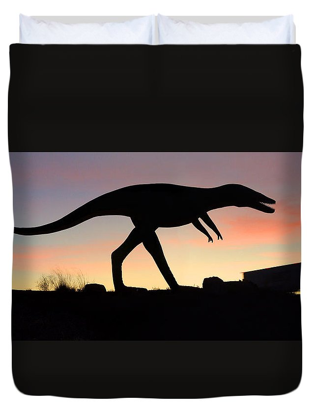 Travel Duvet Cover featuring the photograph Dinosaur Loose On Route 66 by Mike McGlothlen