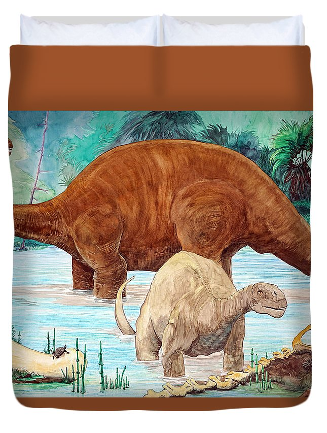 Dinosaur Duvet Cover featuring the painting Dinosaur National Monument 140 Million Years Ago by Dennis Naumick