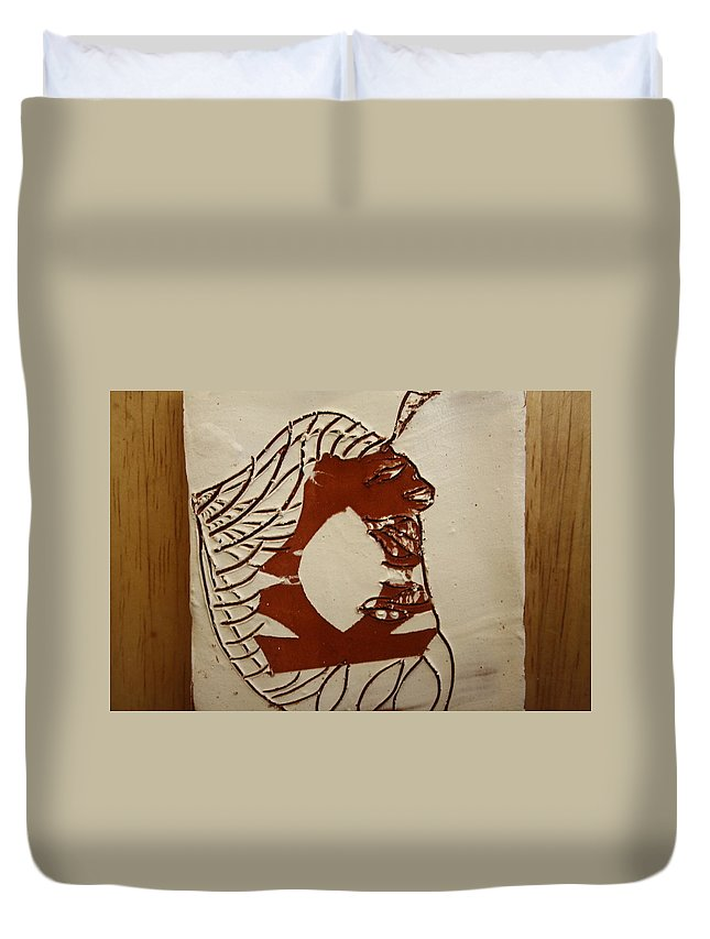 Jesus Duvet Cover featuring the ceramic art Dionte - Tile by Gloria Ssali