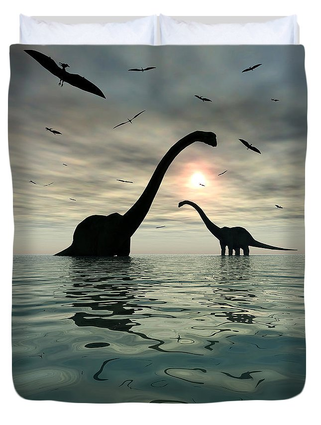 Digitally Generated Image Duvet Cover featuring the digital art Diplodocus Dinosaurs Bathe In A Large by Mark Stevenson