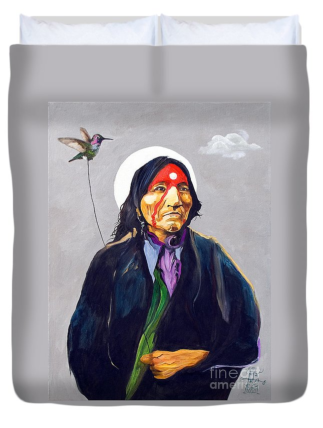 Shaman Duvet Cover featuring the painting Direct Connect by J W Baker