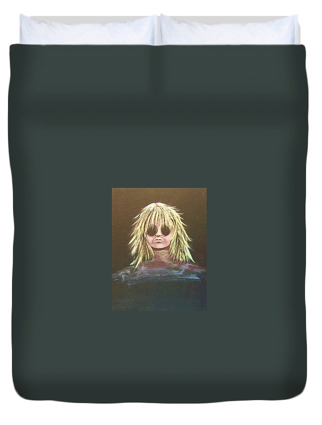 Abstract Duvet Cover featuring the painting Disconnected by Deahn   Benware