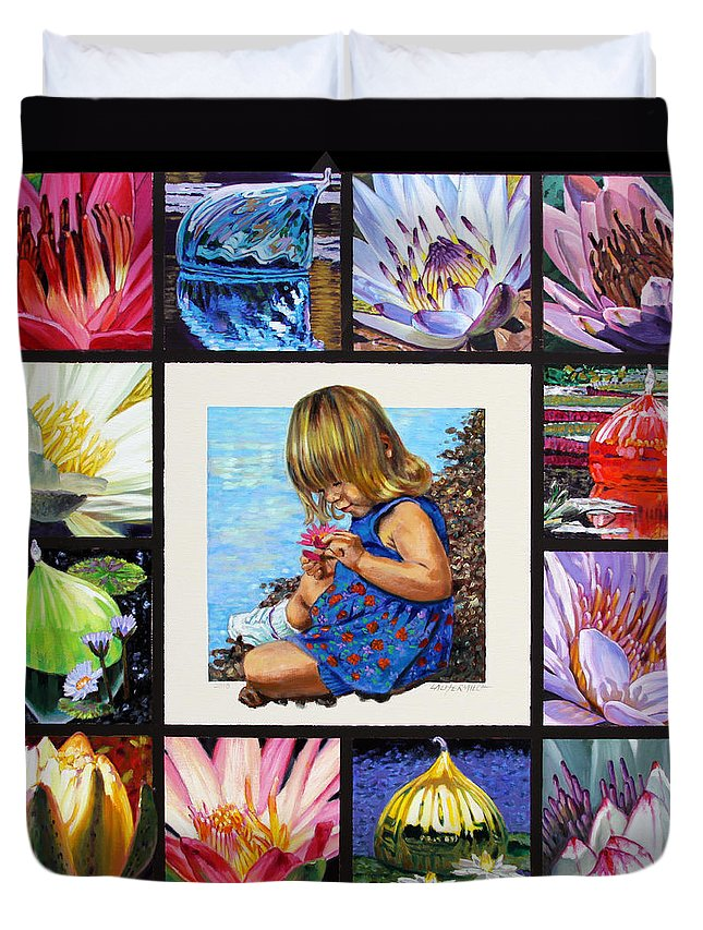Various Water Lilies Duvet Cover featuring the painting Discovering The Beuty Of The Lily by John Lautermilch