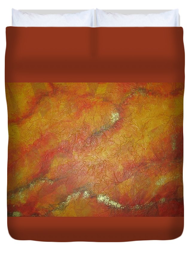 Abstract Duvet Cover featuring the painting Discovery by Kathy Moon