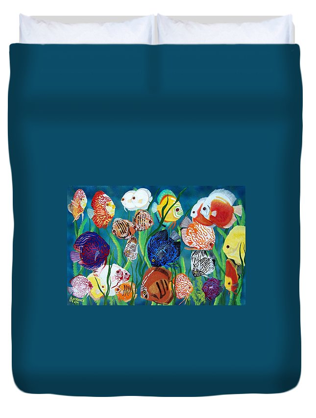 Fish Duvet Cover featuring the painting Discus Fantasy by Debbie LaFrance