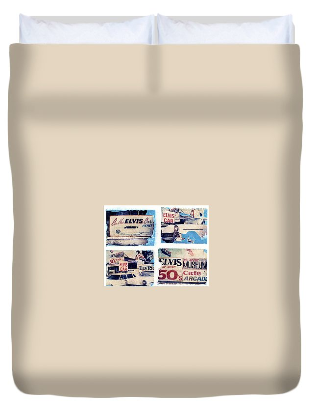 Elvis Duvet Cover featuring the photograph Disgraceland by Jane Linders