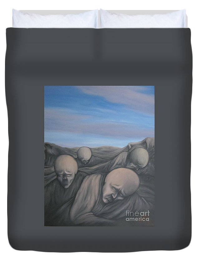 Tmad Duvet Cover featuring the painting Dismay by Michael TMAD Finney