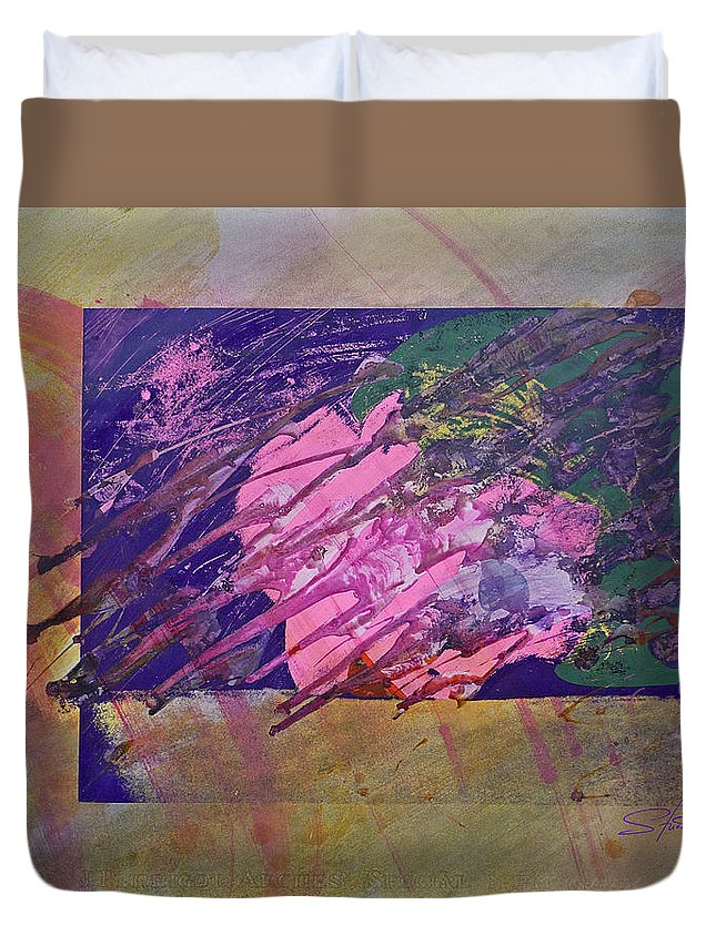 Psycho Duvet Cover featuring the mixed media Disolving Psycho by Charles Stuart