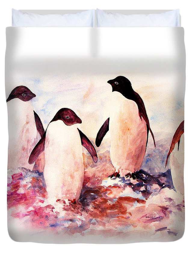 Penguins Duvet Cover featuring the painting Dissident by Rachel Christine Nowicki