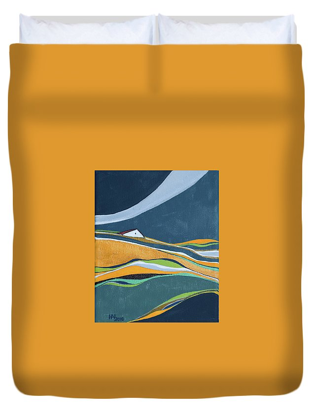Abstract Duvet Cover featuring the painting Distant House by Aniko Hencz