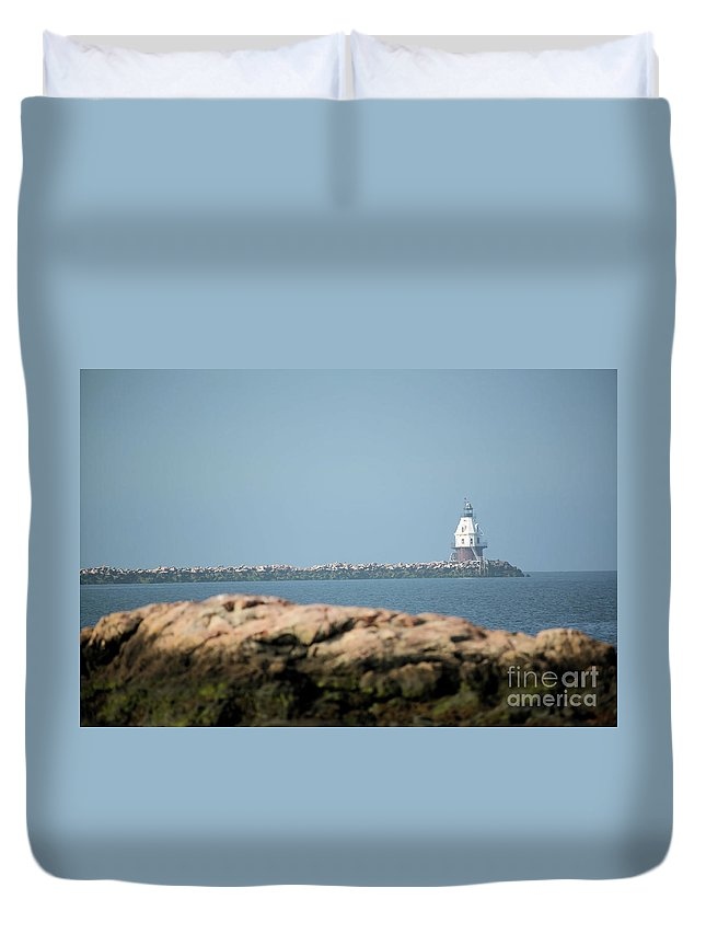 Coastal Duvet Cover featuring the photograph Distant Lighthouse by Karol Livote