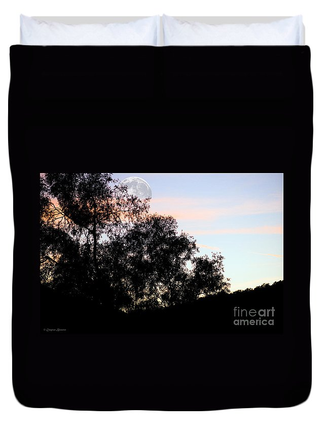 Clay Duvet Cover featuring the photograph Distant Moon by Clayton Bruster