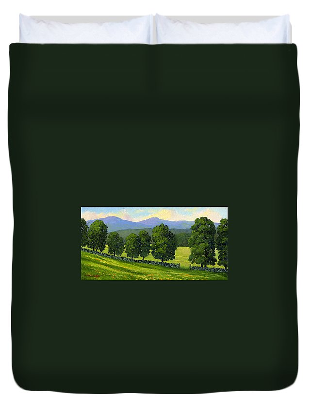 Landscape Duvet Cover featuring the painting Distant Mountains by Frank Wilson