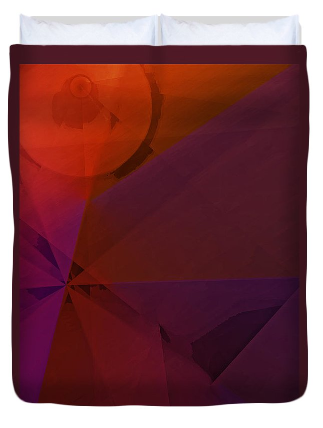 Abstract Duvet Cover featuring the digital art Distant Structures by Ian MacDonald