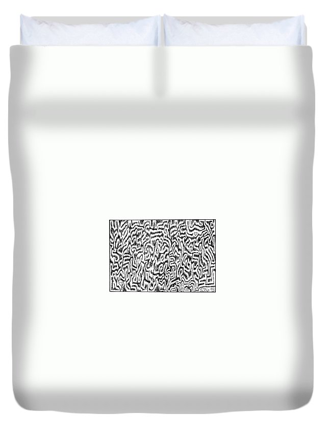 Mazes Duvet Cover featuring the drawing Distortion by Steven Natanson