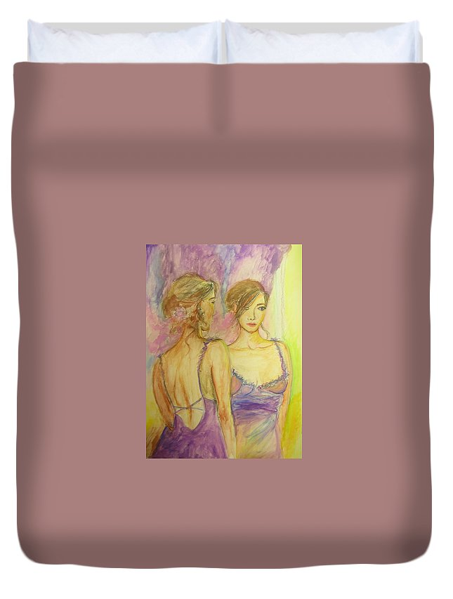 Feminine Duvet Cover featuring the painting Distracted by Lizzy Forrester
