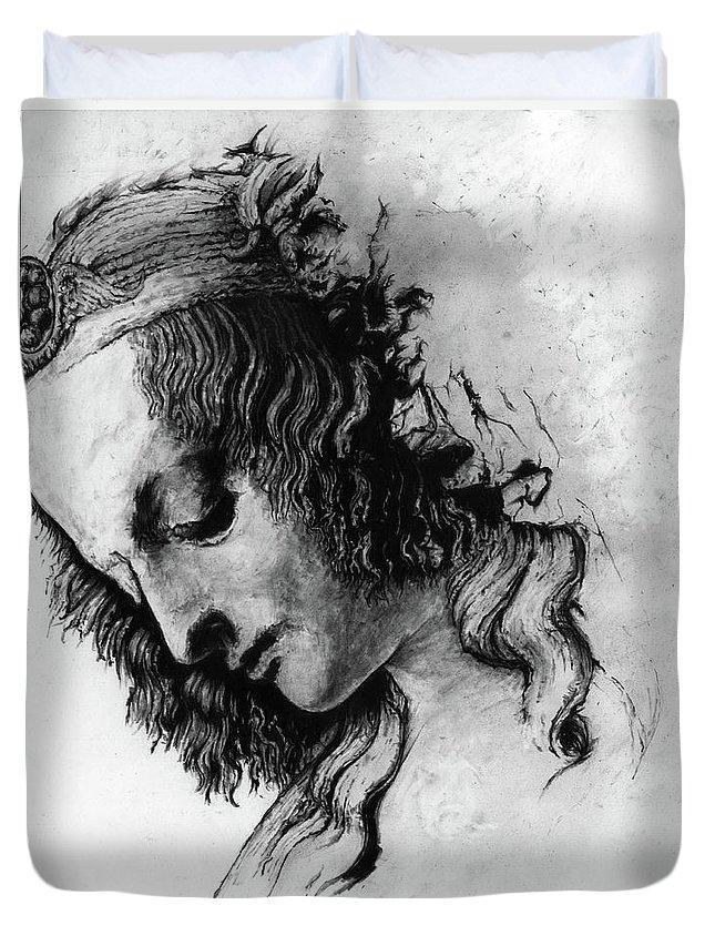 Portrait Woman Leonardo Da Vinci Italian Ancient Renaissance Reproduction Mary Magdalene Christ Code Duvet Cover featuring the drawing Districhi Di Magdalene by Priscilla Vogelbacher