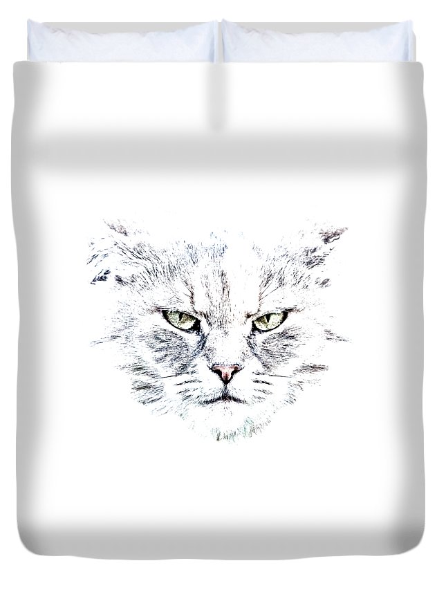 Cat Duvet Cover featuring the photograph Disturbed Cat by Everet Regal