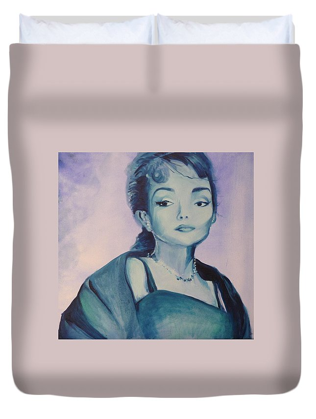 Maria Callas Duvet Cover featuring the painting Diva I Maria Callas by Lizzy Forrester