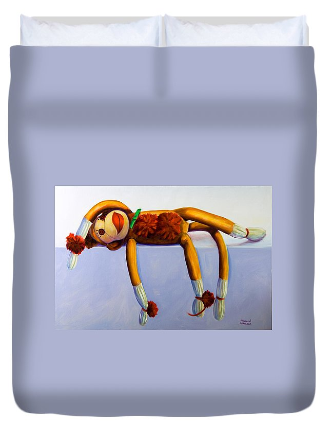 Diva Duvet Cover featuring the painting Diva Made Of Sockies by Shannon Grissom