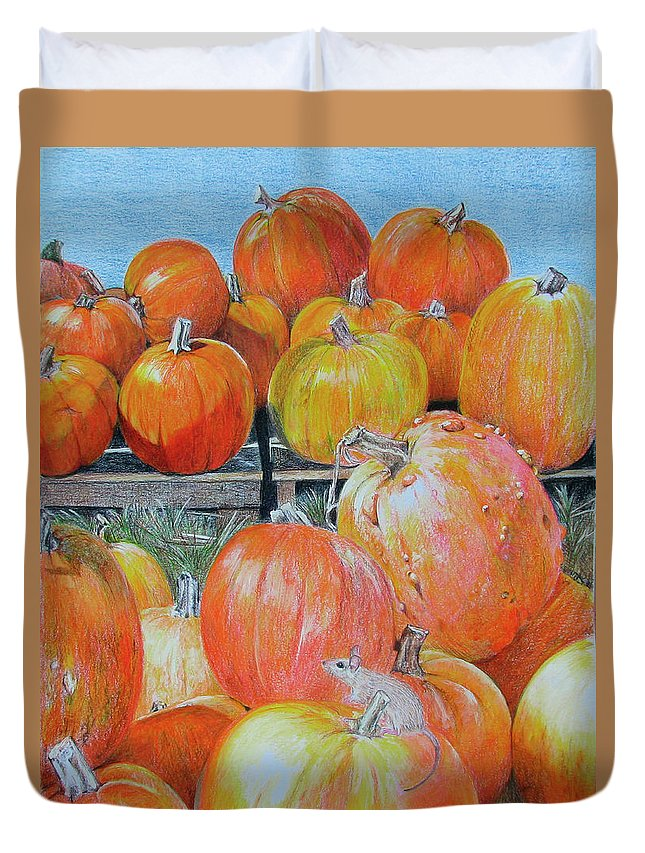Fall Duvet Cover featuring the drawing Diversity by Becky Brooks