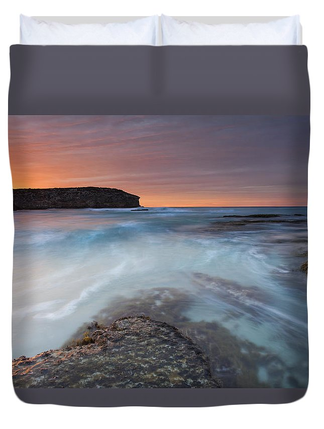 Dawn Duvet Cover featuring the photograph Divided Tides by Mike Dawson