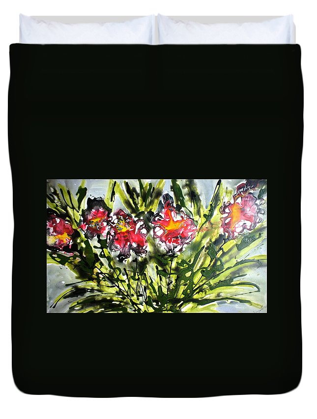 Flowers Duvet Cover featuring the painting Divine Blooms-21166 by Baljit Chadha