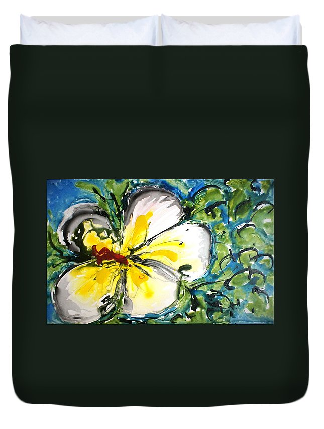 Flowers Duvet Cover featuring the painting Divine Blooms-21167 by Baljit Chadha