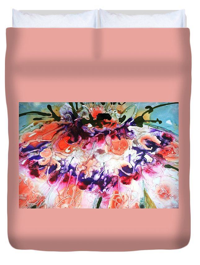 Flowers Duvet Cover featuring the painting Divine Blooms-21175 by Baljit Chadha