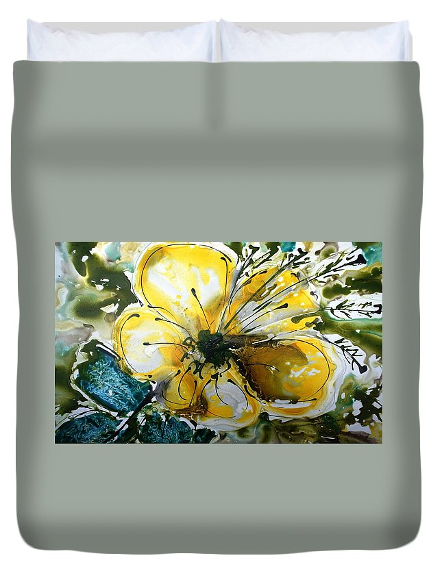 Flowers Duvet Cover featuring the painting Divine Blooms-21179 by Baljit Chadha
