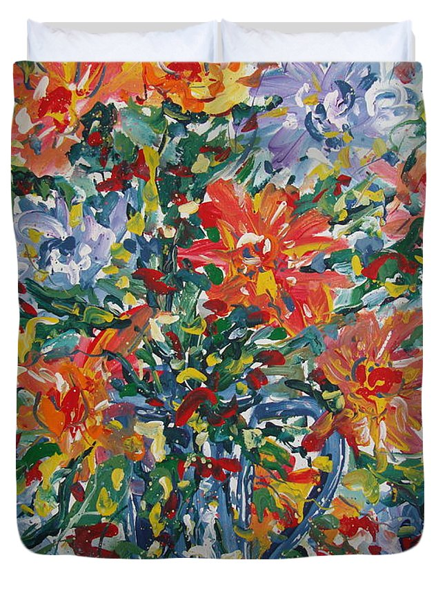 Painting Duvet Cover featuring the painting Divine Happiness. by Leonard Holland