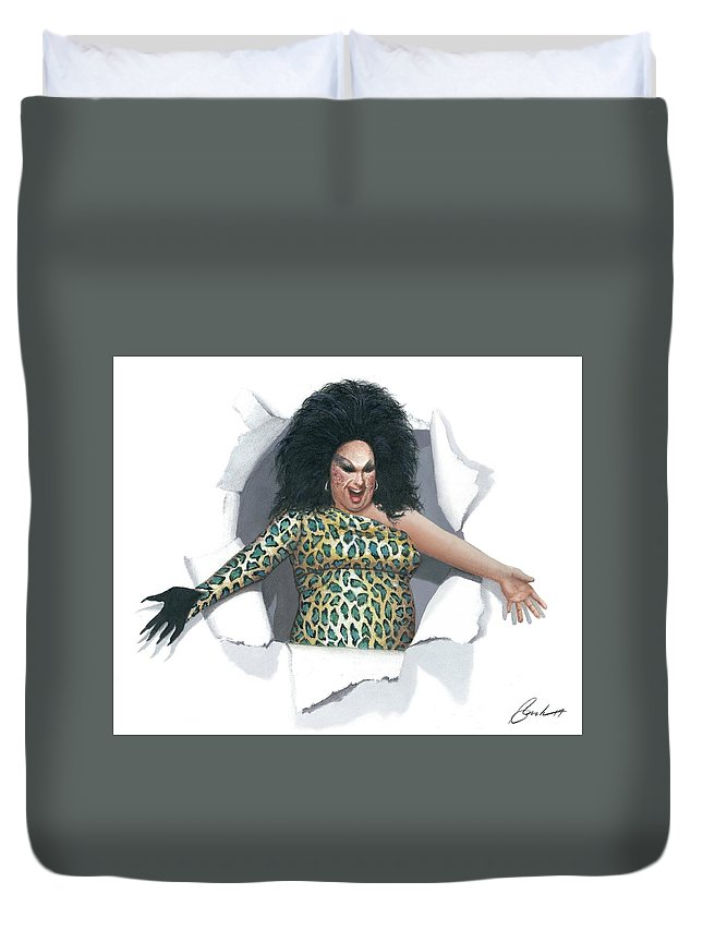 Divine Duvet Cover featuring the painting Divine Pop Out by Bruce Lennon